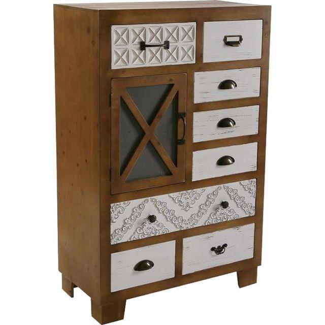 VERSA Buffet 8 tiroirs bois et blanc motifs moulures Selma