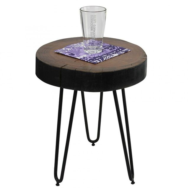 COMFORIUM Table d'appoint ronde 30 x 30 cm avec un plateau en sheesham et 3 pieds en métal