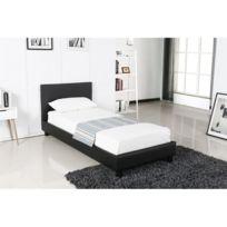 Price Factory   Lit Design Noir Abel 90x200 Cm Une Place, Avec Sommier, Pour