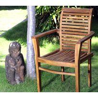 Wood-en-Stock - Fauteuil de jardin empilable en teck massif huilé