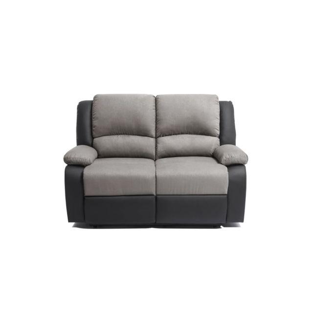 USINESTREET Canapé Relaxation 2 places Microfibre / Simili DETENTE - Couleur - Gris / Noir