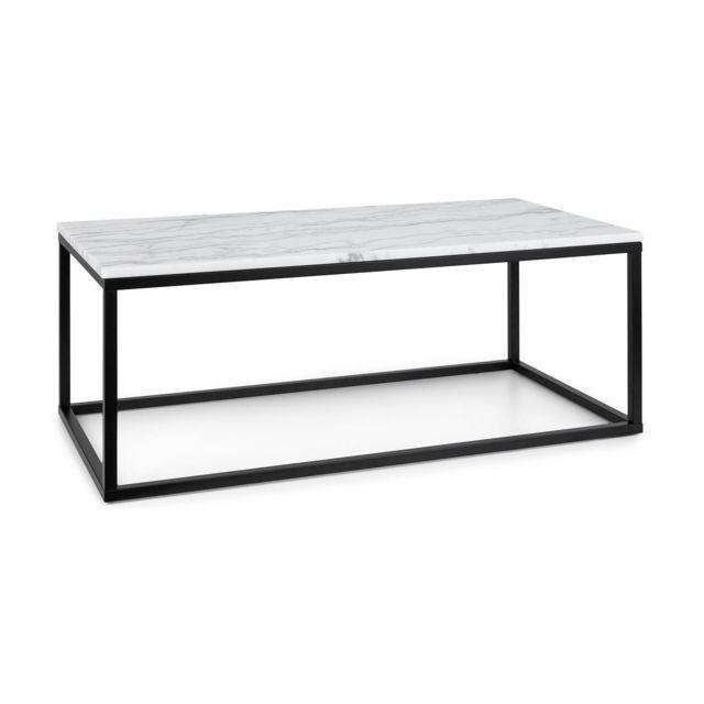 BESOA Volos T100 Table basse pour intérieur & extérieur - 100 x 40 x 50 cm - Plateau marbre noir & blanc