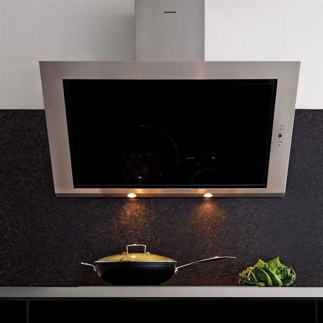 Silverline Hotte cuisine murale Toundra verre noir et inox 90 cm