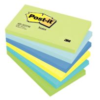 Post-it - post it repositionnable mint 76x127 assorti - lot de 6 blocs