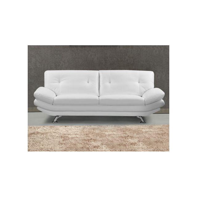 Canapé 3 places en simili FORREST - Blanc