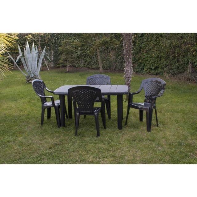 TABLE DE JARDIN VENDUE SEULE Table de jardin rectangulaire Sorrento - 6 places - 140 x 80 x 72 cm - Gris anthracite
