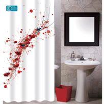 Rideaux douche Rouge, blanc et noir - Achat Rideaux douche Rouge ...