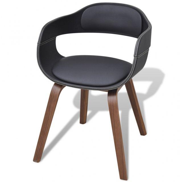 Casasmart Chaise en bois et simili cuir noir
