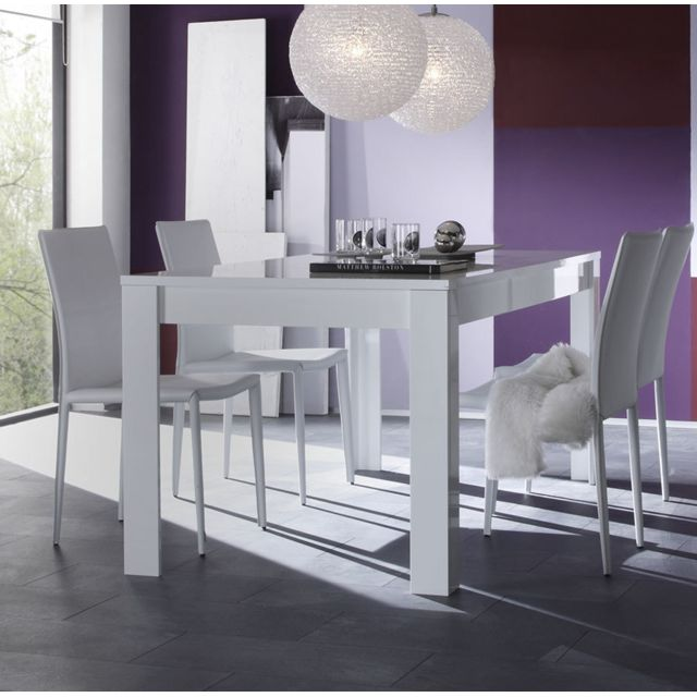 Kasalinea Table à manger blanc laqué design Eleonore - Sans rallonge - L 160 cm