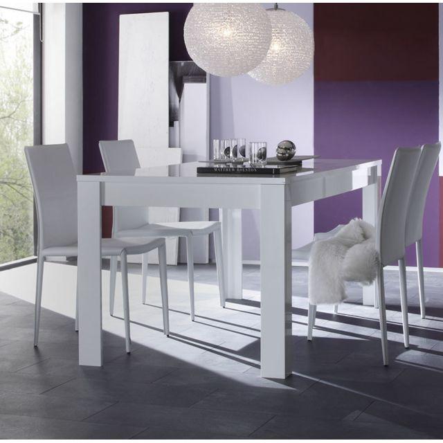 Sofamobili Table à manger blanc laqué design Esmeralda - Sans rallonge