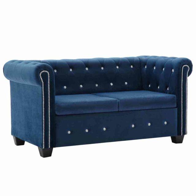 Admirable Meubles serie Freetown Canapé à 2 places Revêtement en velours 146 x 75 x 72 cm Bleu