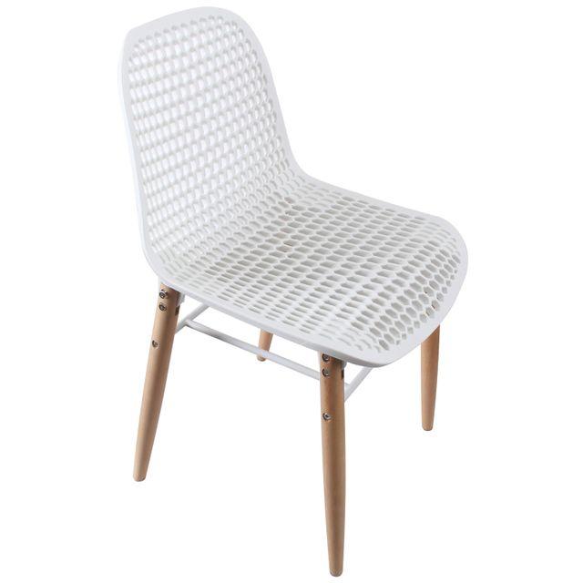 Comforium Chaise moderne coloris blanc et bois