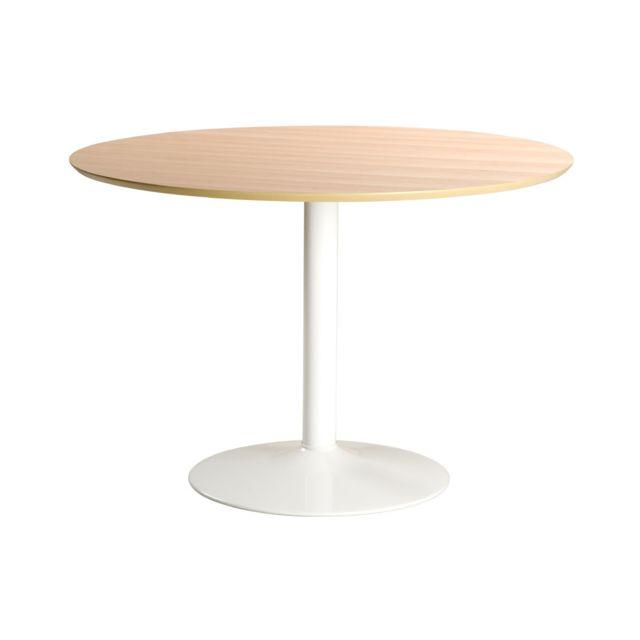 Miliboo Table à manger ronde bois clair et métal blanc D110 cm Kali