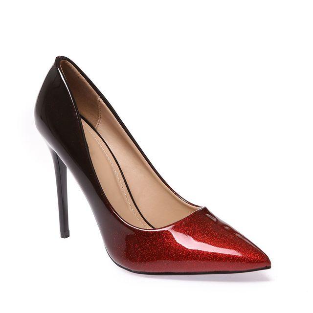 64a6eb7a4b3e Lamodeuse - Escarpins stiletto dégradé pailleté rouge et noir - pas ...