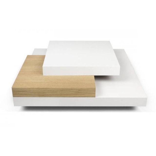 Inside 75 Slate table basse blanche et chêne