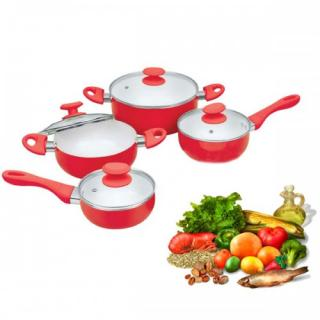 Lot De 8 Pieces 2 Casseroles+ 2 Sauteuses+ 4 Couvercles Violette