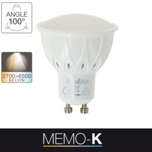 xanlite ampoule led memo k culot gu10 variation de temp rature de lumi re6 5w 50w pas cher. Black Bedroom Furniture Sets. Home Design Ideas