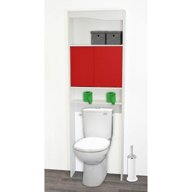 marque generique meuble wc en bois avec 2 portes coulissantes longueur 63 cm dysio rouge nc pas cher achat vente colonne de salle de bain