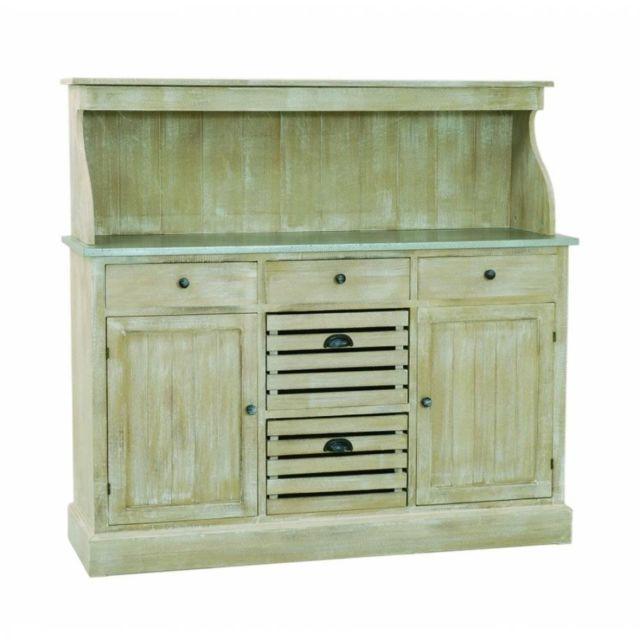 Inside 75 Meuble 2 portes 5 tiroirs Sarah en bois de paulownia style campagne