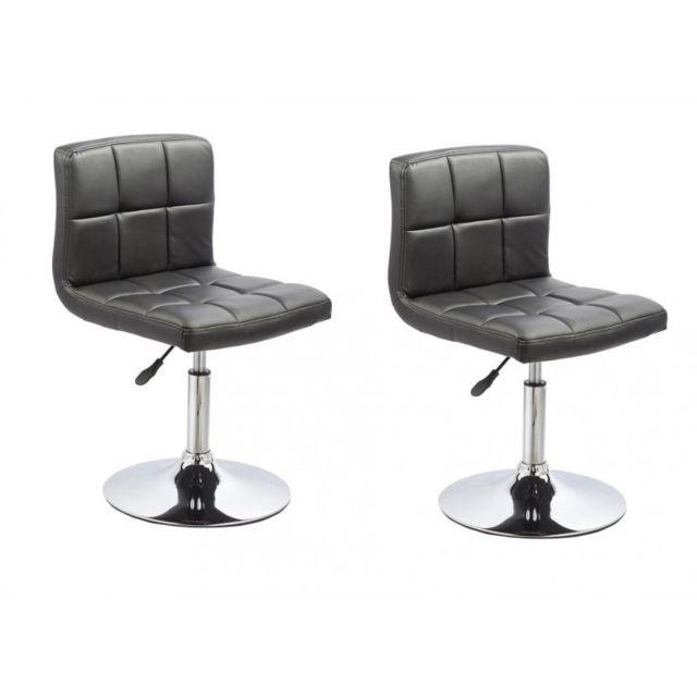 helloshop26 2 chaises de cuisine salon salle manger design hauteur r glable noir 1909008. Black Bedroom Furniture Sets. Home Design Ideas