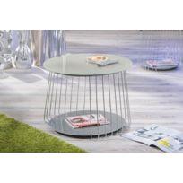 Inside75 - Table basse design Riva en verre satine cappuccino et acier chrome
