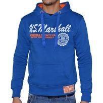 Us Marshall - Sweat à Capuche - Homme - Hs408 - Bleu Royal Orange