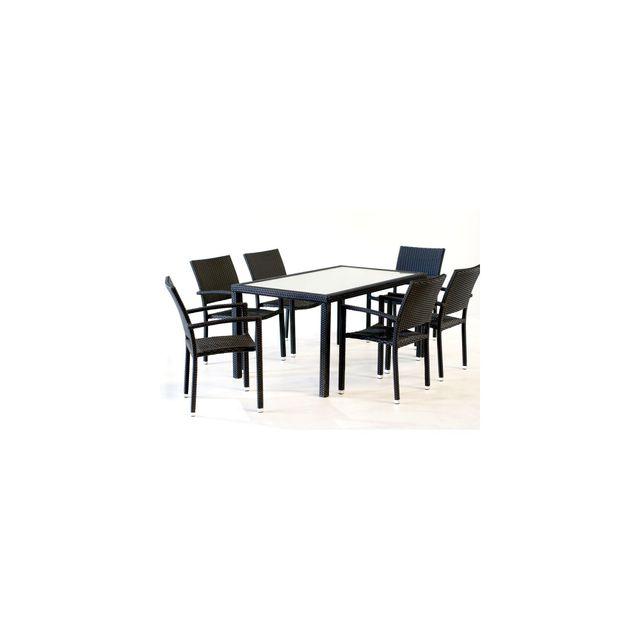 Wood En Stock - Salon de jardin 6 fauteuils en poly rotin table 150 ...