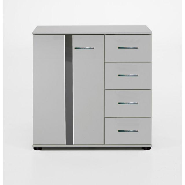 Pegane Commode de rangement coloris blanc / Gris brillant 81 X 83 X 41 cm