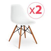 Novara Mobili - Pack 2 chaises Wood Style Blanc avec pieds en bois de hêtre