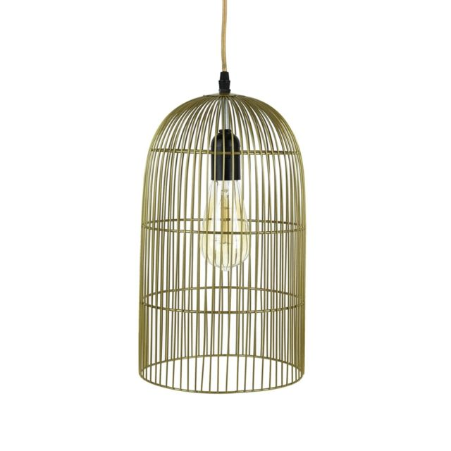 The Home Deco Factory Suspension luminaire en métal filaire Cage - Diam. 20 cm - Doré