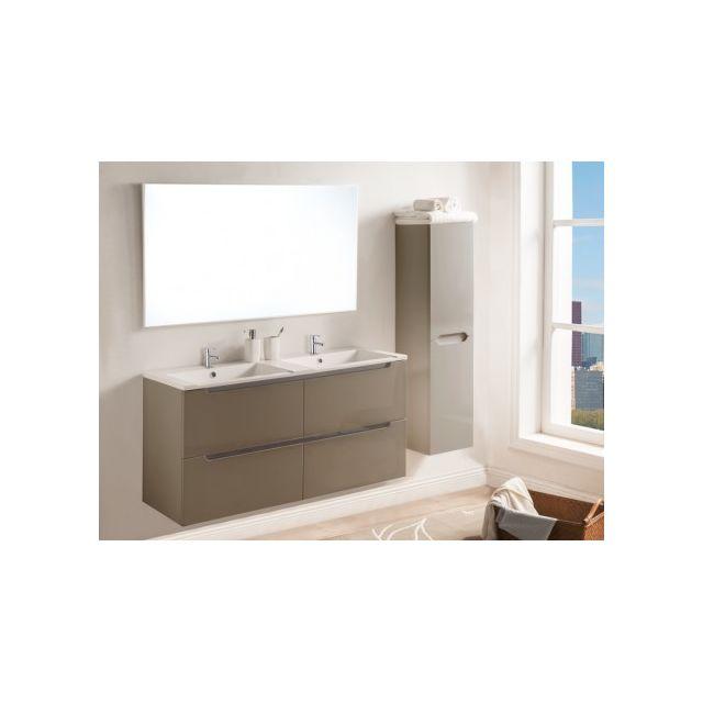 vasque avec meuble MARQUE GENERIQUE - Ensemble SELITA - meubles de salle de bain avec double  vasque et miroir