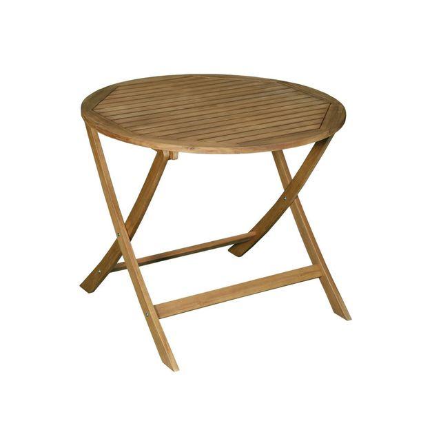 Les Essentiels By Dlm Table de jardin ronde pliante 90cm en acacia Fsc Laemis