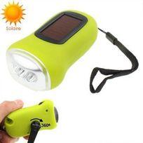 Yonis - Mini lampe torche dynamo 3 Led panneau solaire rechargeable vert