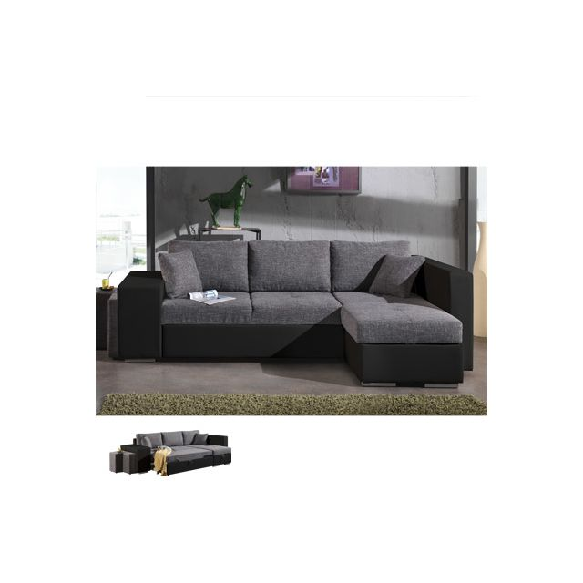 Canapé d'angle à droite convertible gris et Pvc noir Palencia