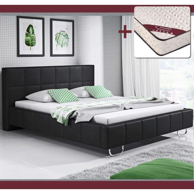 DESIGN AMEUBLEMENT Lit design Sofía – noir 150x190cm, avec matelas Pro Nature