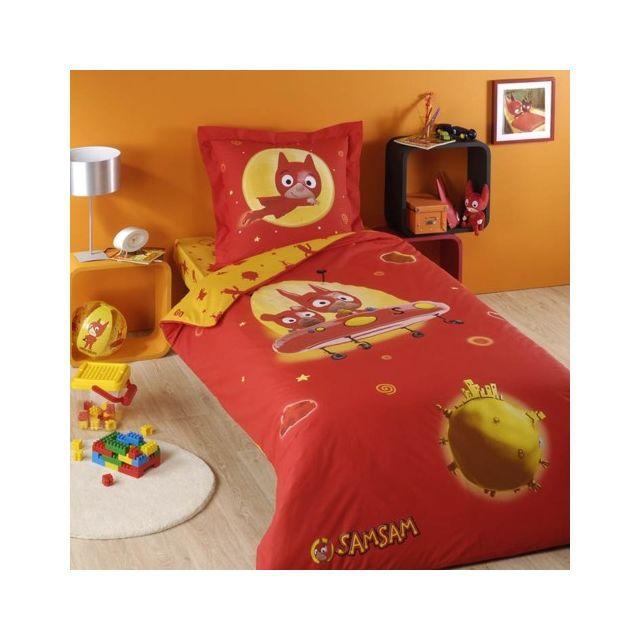 cotonflor parure samsam rouge 1 housse de couette 1 drap housse 1 taie pas cher achat. Black Bedroom Furniture Sets. Home Design Ideas