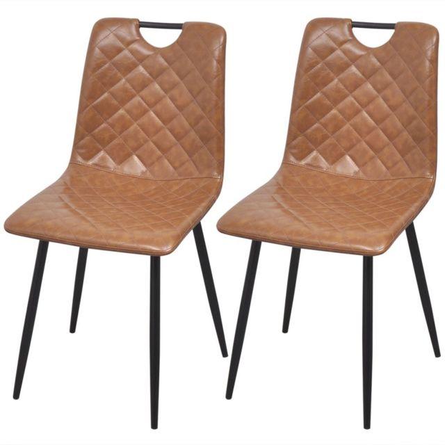 Sans Marque Chaises 2 pcs en cuir artificiel Marron clair