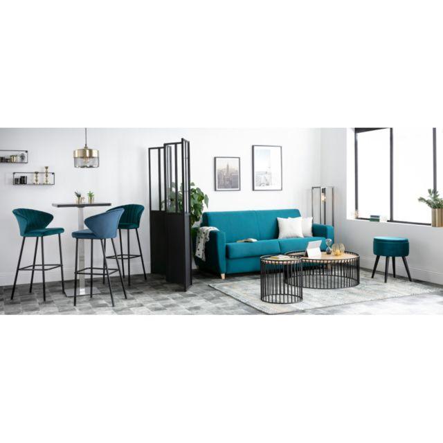 Miliboo Table de bar design carrée noire Jory