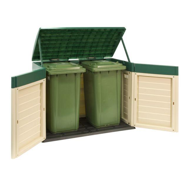 habitat et jardin coffre jardin oregon 146 x 87 x 119m beige et vert pas cher achat. Black Bedroom Furniture Sets. Home Design Ideas