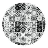 Mon Beau Tapis - Tapis rond motifs carreaux de ciment noir diam. 60cm Toodoo