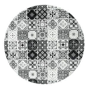 mon beau tapis tapis rond motifs carreaux de ciment noir diam 60cm toodoo pas cher achat. Black Bedroom Furniture Sets. Home Design Ideas