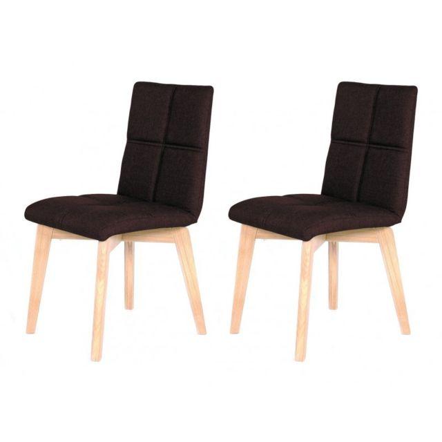 Meubletmoi Lot 2 chaises scandinave et tissu marron - Lea