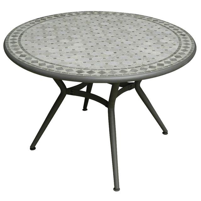 Alinéa - Evolio Table de jardin grise en pierre naturelle 4 ...
