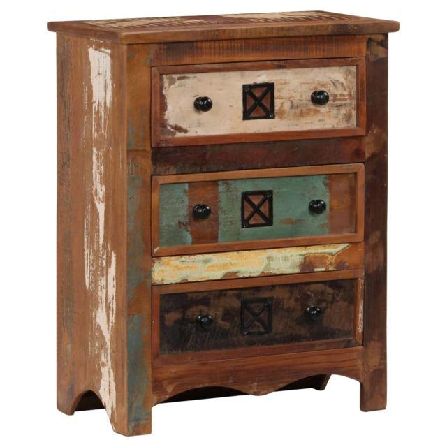 Magnifique Armoires & meubles de rangement gamme Caracas Coffre à tiroirs 60x30x75 cm Bois solide de récupération