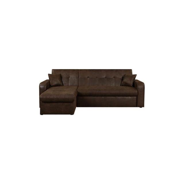 Sans Marque Roman Canape Dangle Reversible Convertible 3 Places + Coffre De Rangement - Tissu Marron Vieilli - L 235 X P 85 - 153 Cm