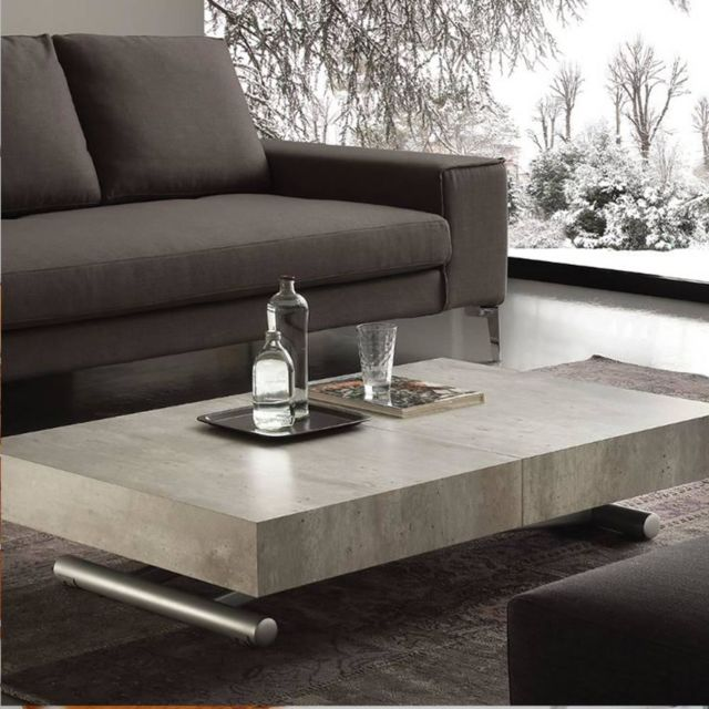 Inside 75 Table basse relevable extensible Block design béton vieilli