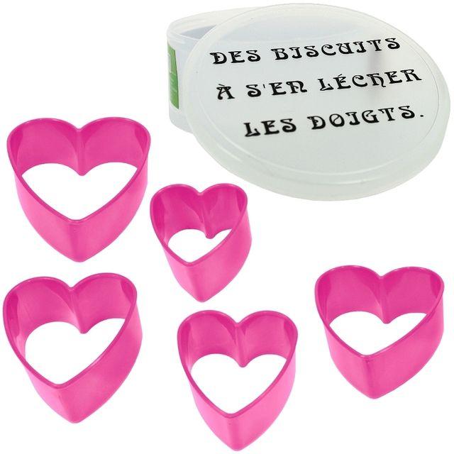 Promobo Coffret Lot 5 Emporte Piece Patisserie Biscuit Humour Forme Cœur