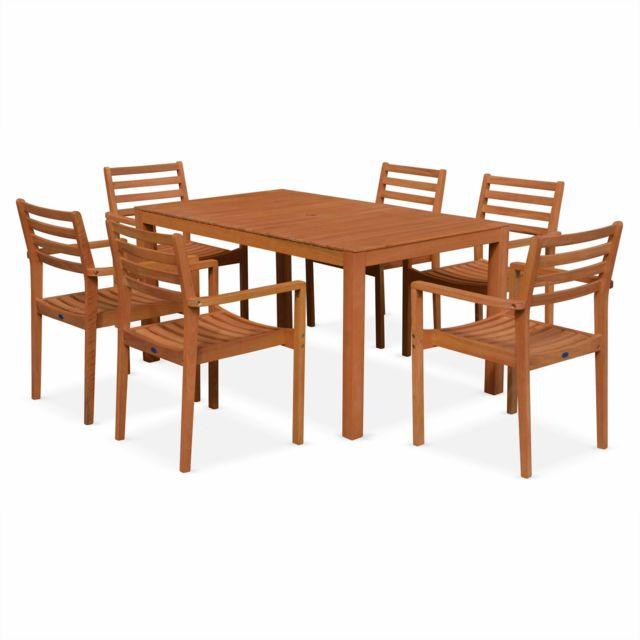 ALICE'S GARDEN Salon de jardin en bois Cadaques, table 150cm rectangulaire, 6 fauteuils eucalyptus FSC