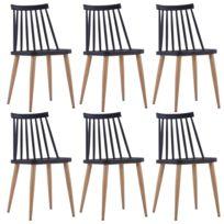 Vidaxl Chaises de salle à manger 6 pcs Noir Plastique et