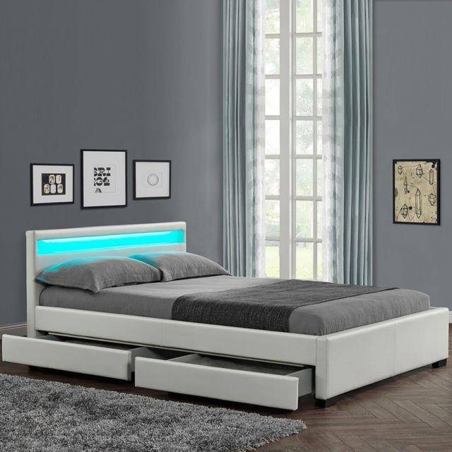 MEUBLER DESIGN Lit design Rona - Blanc - 160x200